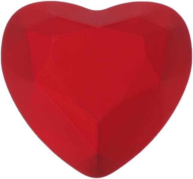 non-brand Hochzeit Ringbox Herz Ringkissen Ringschachtel mit LED Lampe 6.5 x 7.1 x 4.5cm Rot Ringbox