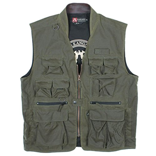 Kakadu Australia Outdoor Work Safari Fishing Traveller Oilskin Vest with Pockets- Zipped -