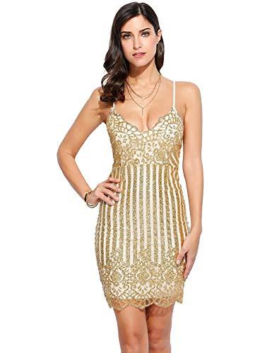 Cheryl Bull Fashion Women's Flapper DressVintage 1920s V Neck Beaded Fringed Lace Tassels Hem Flapper Dress,Large,5-Gold -