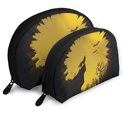 Makeup Bag Happy Halloween Handy Shell Travel Bags Set Storage for Women,Girls 2 Piece ()