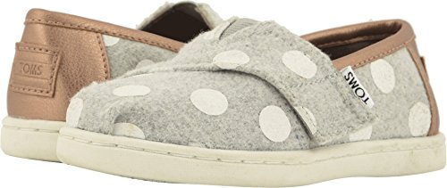 TOMS Kids Baby Girl's Alpargata (Infant/Toddler/Little Kid) Drizzle Grey Felt/Polka Dots 4 M US Toddler (Dots Kids Polka Shoes)