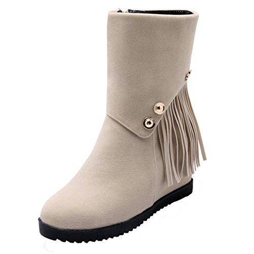 AIYOUMEI Damen Keilabsatz Stiefeletten mit Fransen High Heels Ankle Boots Fransenstiefel Bequem Schuhe Beige