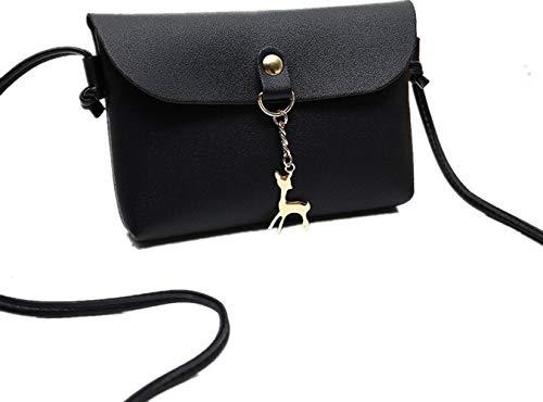BCDshop Women Small Crossbody Shoulder Bag,GILR Deer Pendant Faux Leather Wallet Coin Purse (Black) by BCDshop Shoulder Bag (Image #5)