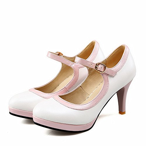 White Assorted Color WeiPoot Materials Round Heels Shoes Pumps Blend Buckle Closed High Toe Women's Ow5q4B