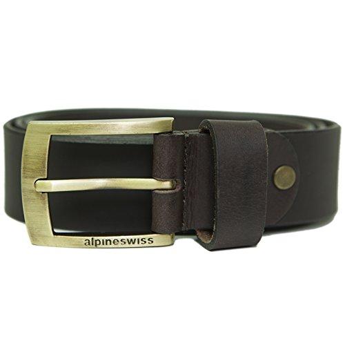 Alpine Swiss Men's Casual Jean Belt 35MM Genuine Leather Brass Buckle Brown 34