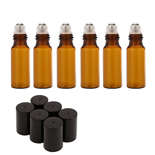 Mavogel 5ml Amber Glass Roller Bottles-Set of 6 Roll Bottle With Metal Ball for Essential Oil,Aromatherapy,Perfumes and Lip Balms