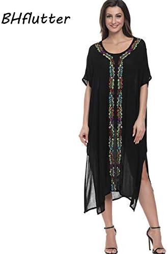 ASGHILL Boho Flores Bordado Vestidos de Verano de Manga Corta de Las Mujeres Vestidos Casuales Vestidos Largos de algodón Mujer Verano: Amazon.es: Deportes y aire libre