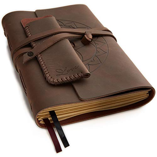 - Leather Journal Writing Notebook - Lined Pages + Pen Holder. Handmade Genuine Leather Notepad For Men & Women. Paper 8 x 6 Inches. Great Travel Diary. Perfect Gift For Men & Women.