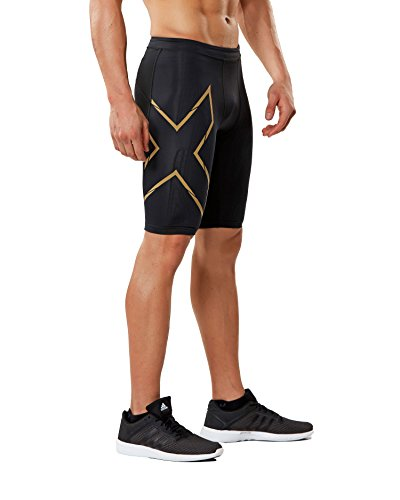 - 2XU Mens MCS Compression Run Shorts Black/Gold Reflective M