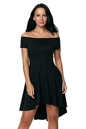 Fashion Women's Boat Neck Off-the-shoulder Short Sleeve Asymmetric Hem Dress (Small, Black 2)