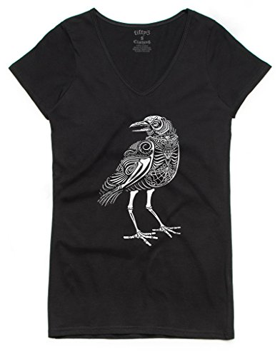 Fifty5 Clothing Women's The Crow Bevel V Neck T-Shirt Black M (Black Crow Clothing)