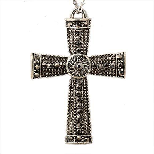 PH PandaHall 2pcs Antique Silver Alloy Hematite Rhinestone Claddagh Cross Pendant Blessed Charms for Jewelry Bracelet Necklace - Cross Rhinestone Hematite