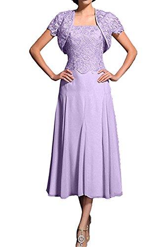 mit Herrlich Ballkleider Abendkleider Spitze Kurzarm Lilac Promkleider Flieder Bolero Wadenlang Abschlussballkleider La mia Braut qaTHHF