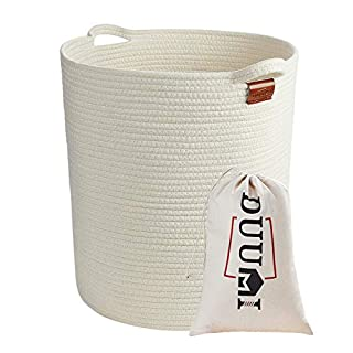 "DUUMI 16"" x 18"" Extra Large Storage Baskets Cotton Rope Woven Nursery Bins,Nursery Hamper,Baby Laundry Basket Woven Blanket Basket,Natural White (XL)"