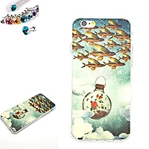 SHOUJIKE Flying Fish Pattern TPU Back Cover Case With The Dustproof Plug for iPhone 6