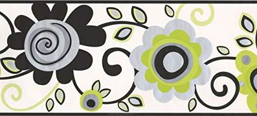 Wallpaper Border Floral Scroll Green 9