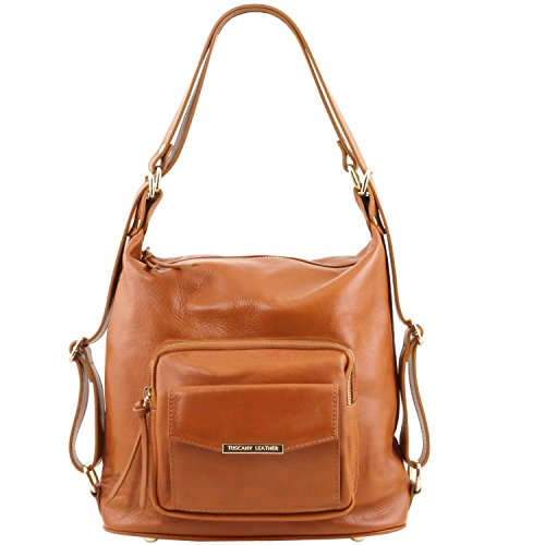 Tuscany Leather TL Bag Leather convertible bag Cognac by Tuscany Leather