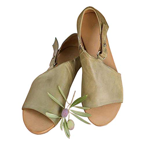 SNIDEL Flat Sandals for Women Open Toe Slip on Pu Shoes Summer Low Heels Strappy Sandal with Buckle Green 8 B (M) - Dark Green Leather Footwear