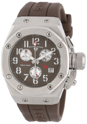 Swiss Legend Women's 10535-04 Trimix Diver Chronograph Brown Dial Brown Silicone Watch