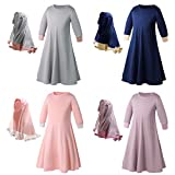 EITC 2-7 Years Islamic Long Muslim Dress - Abaya with Hijab - Long Sleeves - for Kids Toddler Girls Child, 6-7 Years