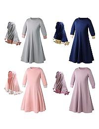 EITC 2-7 Years Islamic Long Muslim Dress - Abaya with Hijab - Long Sleeves - for Kids Toddler Girls Child