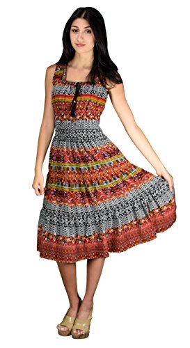 Peach Couture Damask Print Neck Tie Sleeveless Summer Tiered Calf Length Dress Orange and Black X-Large