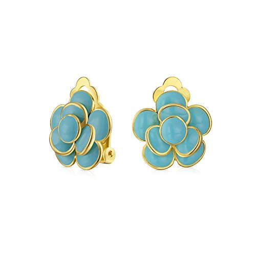 Simulated Turquoise Blue Enamel Rose Flower Retro Clip On Earrings Button Style Non Pierced Ears 14K Gold Plated Brass