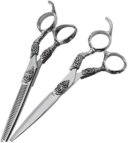 ヘアカット鋏 はさみ 6インチ理髪はさみ、ヘアスタイリスト特別な理髪はさみフラットはさみ+歯はさみプロの本格的なツールスーツ ヘアトリミングシザー (Color : Silver)