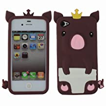 Fosmon Animal Silicone Case for Apple iPhone 4/4S - (Brown 3D Pig Design)