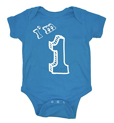 I'm 1 Bodysuit - One Year Old Birthday Party (12M, Turquoise)]()