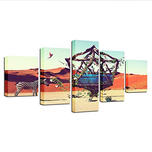 Yyjyxd Wall Art Hd Printing Decor Home Living Room 5 Pieces Animal Zebra Desert Landscape Canvas Painting Framed Modular Poster Picture,12X16/24/32Inch,Without Frame]()