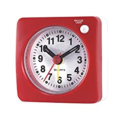MagiDeal Ultra Small Alarm Clock, Battery Operated, Beeper Alarm, Silent Sweep, with Nightlight and Snooze, Travel Bedside Tabletop Alarm Clock - Red