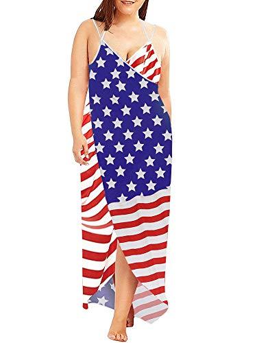 Jeanewpole1 Womens Plus Size Swim Cover Ups Spaghetti Strap Beach Backless Wrap Long Dress (4X-Large, American Flag) ()
