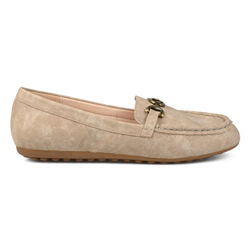 - Brinley Co. Womens Elisha Faux Leather Comfort-Sole Chain Accent Driving Loafers Taupe, 8 Regular US