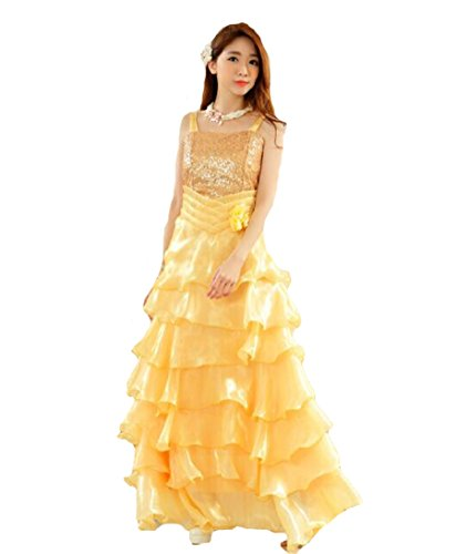 Swing Principessa Da Big Cocktail Sposa Plaer Fresh Prom Yellow Abito Lungo Sera SVUMpz