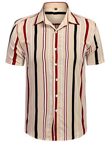 URRU Men's Fashion Short Sleeve Regular Fit Button Down Shirt Casual Vertical Striped Dress Shirt Khaki S