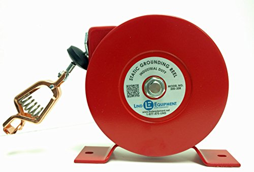 Lind Equipment 200-20R Industrial Static Grounding Reel, 20', Plated Steel Cable, Copper Alligator Clip with 100 amp Rating, 1