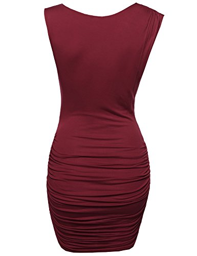 Tuck Women's Awdsd0624 Awesome21 Club Burgundy Side with Sleeveless Dress Party Mini 8Pq7OP