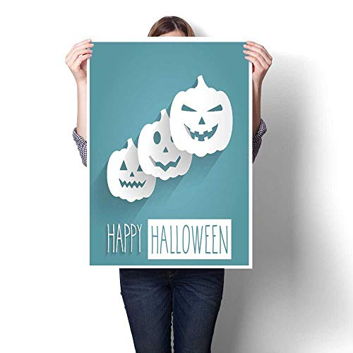 smllmoonDecor Abstract Painting Happy Halloween Blue Poster Handwritten Letters with Pumpkins Decorative Fine Art Canvas Print Poster K 24