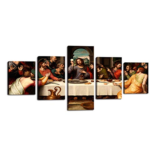 Jesus The Last Supper Wall Art Canvas Prints Leonardo da Vinci Classic Art Reproductions. Giclee Print& Silver Museum Quality Framed Posters Artwork for Wall Decor Living Room office (50''Wx24''H)