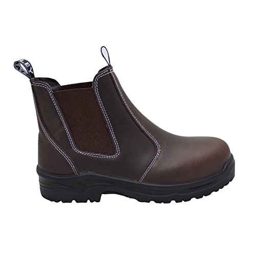 STANLEY Women's Dredge Steel Toe Work Boot Chelsea, Brown, 7.5 Regular US
