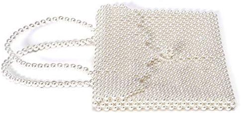 サマーパールバッグ韓国パールトートバッグ、ホワイト、27.0 Cm * 22.0 Cm * 4.0 Cm、ポリエステル 美しいファッション (Color : White)