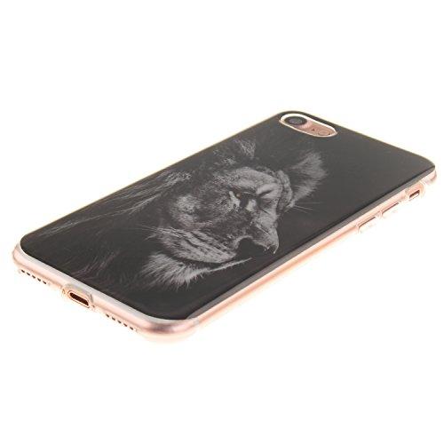 XiaoXiMi Funda iPhone 7 Carcasa de Silicona Caucho Gel para iPhone 7 Soft TPU Silicone Case Cover Funda Protectora Carcasa Blanda Caso Suave Flexible Caja Delgado Ligero Casco Anti Rasguños Anti Choqu el Rey León