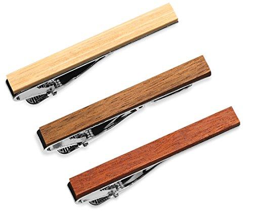 3 Pc Wood Tie Bar Clip Set, 2.1 Inch, Macaranduba, Bamboo, Palo Santo in Gift Box from Puentes Denver