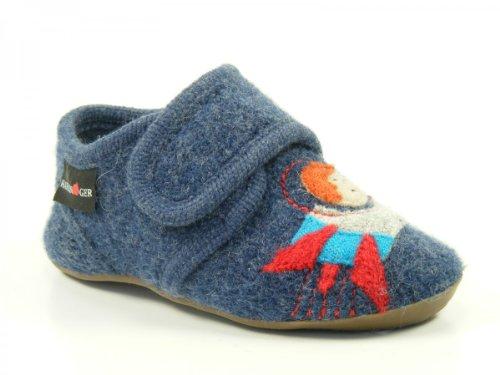 Haflinger Schuhe Kinder Hausschuhe Hüttenschuhe Wolle Everest Ufo 483048 Blau