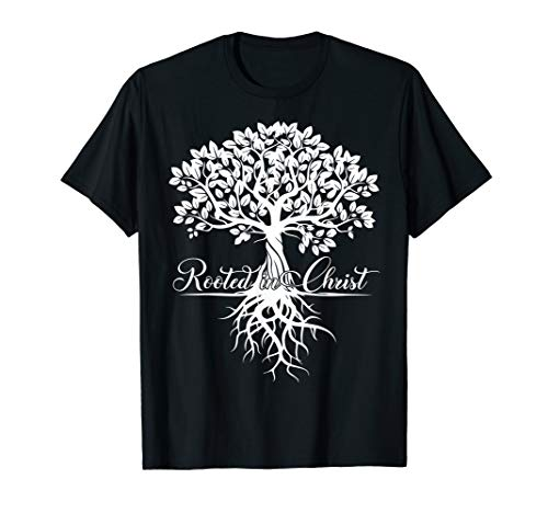 Rooted In Christ Tshirt Christian Cross Faith Jesus Shirt