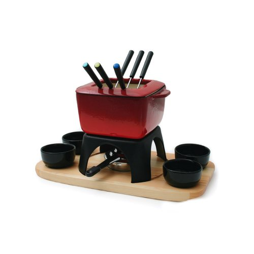 Swissmar Mont Blanc 15 Piece Meat Fondue Set, Red by Swissmar