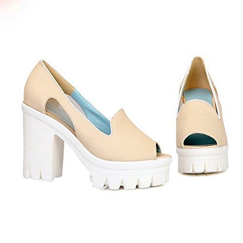 AgooLar Women's Pull-on High Heels PU Solid Peep Toe Sandals apricot NhgNxvn
