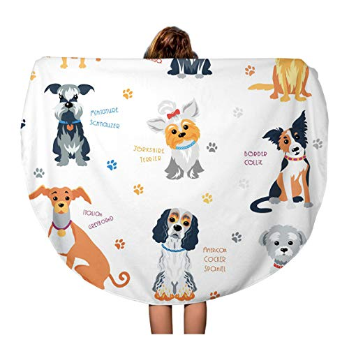 Semtomn 60 Inches Round Beach Towel Blanket American Colour Dogs of Different Breeds Cocker Spaniel Animal Travel Circle Circular Towels Mat Tapestry Beach Throw