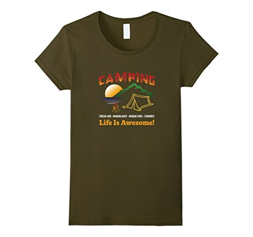 Womens Camping Life Is Awesome TShirt, Camping T-Shirt, C...